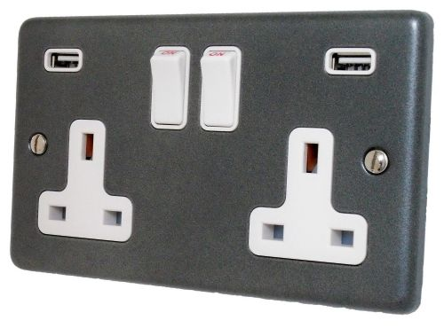 G&H CP910W Standard Plate Pewter 2 Gang Double 13A Switched Plug Socket 2.1A USB